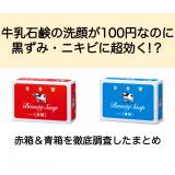 牛乳石鹸の洗顔が100円なのに黒ずみ・ニキビに超効く!?赤箱&青箱を徹底調査したまとめ